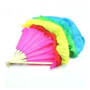 Colorful Multicolor Hand Made Belly Dance  Silk Bamboo Long Fan Veils 1.8m LA