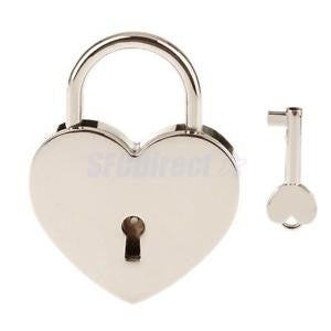 Alcoa Prime Shiny Silver Heart Shape Padlock Shackle Lock w/ Key for Closet Luggage - L