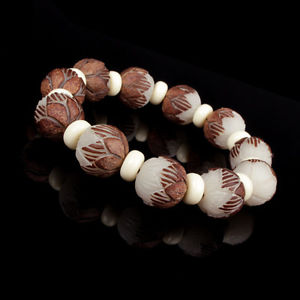 White Bodhi Seed Tibetan Buddhist Prayer Beads Carve Lotus Bracelet Jewelry