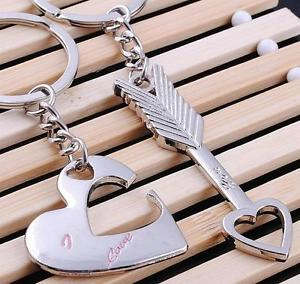 1 Pair Fashion Heart Arrow Key Ring Keyfob Romantic Couples Keychain Lover Gift