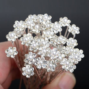 40 PCS Wedding Hair Pins Crystal Pearl Flower Bridal Hairpins Hair Accessories4F