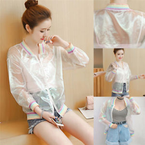Women's Jacket Laser Rainbow Coat Iridescent Transparent Bomber Sunproof#