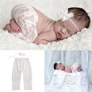 Alcoa Prime Infant Baby Girls Cute White Lace Pants+Headband Trousers Photography Props 2pcs