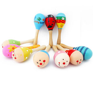 Cute Baby Kids Sound Music Gift Toddler Rattle Musical Wooden Colorful Toys BB