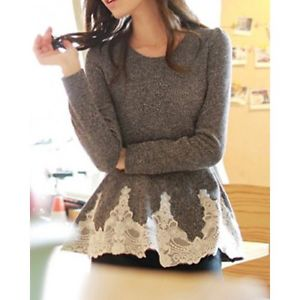 Women Long Sleeve Round Collar Blouse Splicing Lace Casual T Shirt Blouse Tops