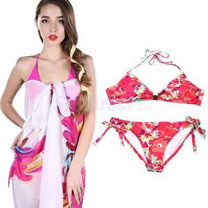 Alcoa Prime Sexy Womens Floral Printed Swimming Bikini With Chiffon Pareo Cover Up Scarf