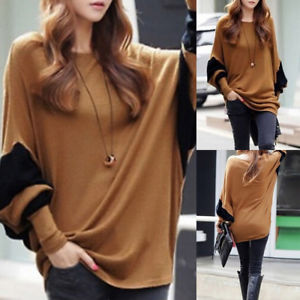 Women Fashion Round Neck Bat Sleeve Autumn Simple Casual Loose Tops Sweaters