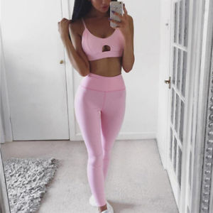 Fitness Women's Gym Top Leggings Vest Running Sports Yoga Workout Tracksuit HS