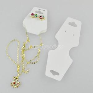 100PCs White Hanging Fold Over Necklace Earrings Jewelry Set Paper Display Card