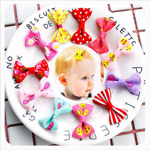 10 Pcs Small Mini Bow Hairgrips Sweet Baby Girls Solid Printing Kids Hairpins$#