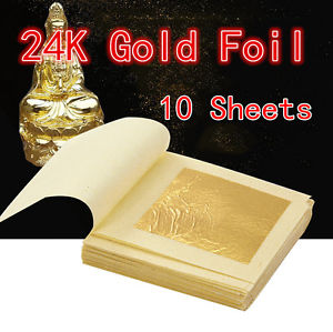 10 Sheets Pure Gold Foil Leaf 100% 24K Food Anti-Aging Facial Spa Craft Gilding