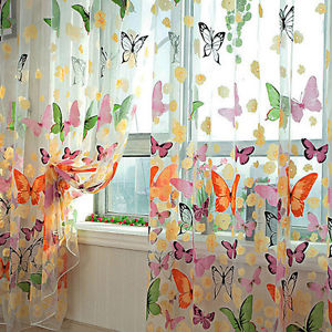 Butterfly Sheers Curtains Voile Tulle Floral Window Curtain Scarf Valance ZXC