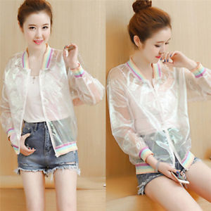 Women's Jacket Laser Rainbow Coat Iridescent Transparent Bomber Sunproof&