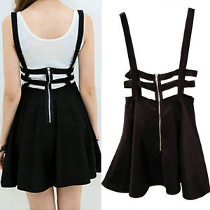 Alcoa Prime Women Skirt High Waisted Waist Pleated Skater Flared Suspender Braces Dress Pro.