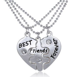 """3 Part BFF Best Friends Forever"" Love Break Heart Pendent Friendship Necklaces"