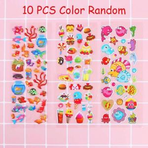 10 Sheets Cute Cartoon Fish Pattern PVC Stickers DIY Craft For Kids
