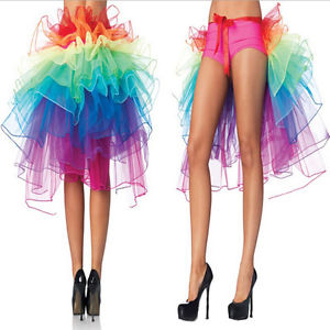 Quick View Alcoa Prime Rainbow Neon Tutu Skirt Rave Party Dance Half Bustle Burlesque Sexy Clubwear JB