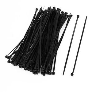 Durable 100 Pcs 150mm x 2mm Electrical Cable Tie Wrap Nylon Fastening Black