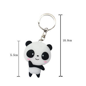 Lovely Silicone Cartoon Panda Keychain Keyring Bag Accessories Pendant Keyfob