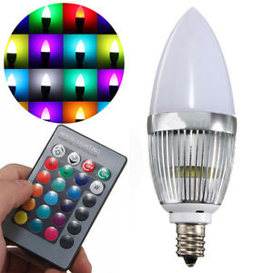 E12 3W LED Candle Lamp Candelabra Candlestick RGB Spot Light Bulb+Remote Tool...