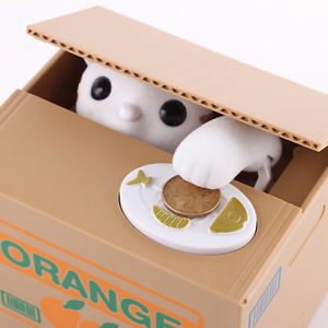 Alcoa Prime Automated Cute Cat Steal Coin Itazura Piggy Bank Stealing Penny Money Saving Box