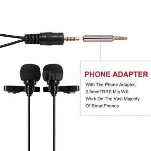 6 m Clip on Dual-Head Lapel Microphone Lavalier Omnidirectional Condenser