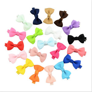 20Pcs Hair Bows Band Boutique Alligator Clip Grosgrain Ribbon Girl Baby Kids WF