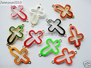 Alcoa Prime 20Pcs Colorful Smooth Metal Open Cross Bracelet Connector Charm Beads Mixed
