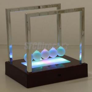 Alcoa Prime Newtons Cradle LED Light up Science Toy Office Decor Education Desk Toy Red