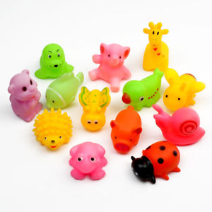 Alcoa Prime 12X Soft Mixe Animals Bathing Toys Rubber Float Squeeze Sound Squeaky Baby Kids