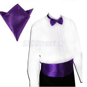 Alcoa Prime Men's PURPLE Cummerbund & Pre-tied Bowtie Hanky Tuxedo Wedding Formal Set