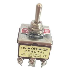 AC 250V 15A/ 380V 10A 12Pin 4PDT 3Position 12mm On/Off/On Toggle Switch