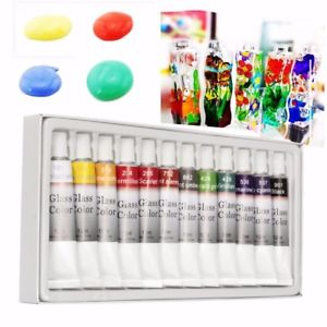 Alcoa Prime 12 Colors 12ml Waterproof Non Toxic Glass Paint Set Tube Stain Glass Painting