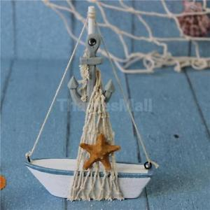 Mini Wooden Anchor Sailboat Boat Ship Gift Bookshelf Table Home Party Deco 1