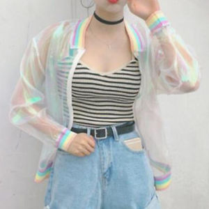 Alcoa Prime Iridescent Transparent Women Jacket Holographic Coat Laser Rainbow Clear Bomber