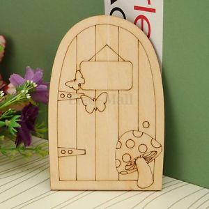 10x Wooden Plain Fairy Hobbit Door Plaque Butterfly Mushroom Craft Embellishment