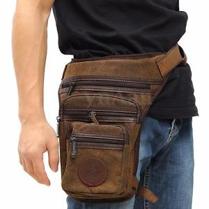 Men's Canvas Travel Hiking Motorcycle Rider Waist Thigh Drop Leg Bag Hip Pack