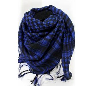 Arab Shemagh Keffiyeh Military Tactical Palestine Scarf Shawl Wrap Hot Blue R TG
