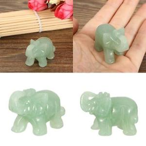 Alcoa Prime Hand Carved Green Aventurine Jade Stone Craving Lucky Elephant Feng Shui statue