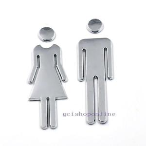 Restroom Sign Bathroom Modern Adhesive Backed Men Women Unisex 120x40mm Acrylic