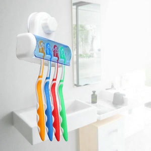 Easy Toothbrush Suction Cups Holder Stand 5 Racks Home Bathroom Wall Mount FL