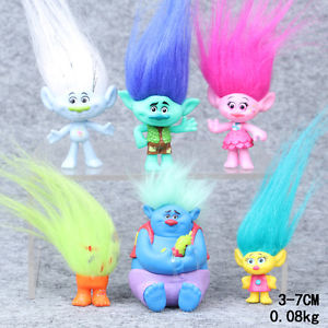 6pcs 3-7cm Trolls Movie Figure Toys Set Collection Playset Kids Birthday Gifts N