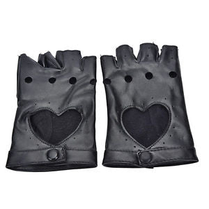 Women Punk Leather Driving Biker Fingerless Mittens Dance Motorcycle Gloves LA