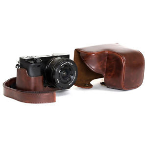 Leather case strap camera bag for Sony alpha a6000 A6300 With 16-50mm Lens Pro