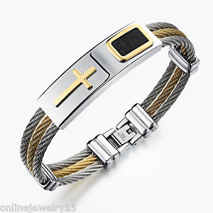 1PC New Fashion Men's Stainless Steel Cross Finished Chain Bracelet Jewelry Gift