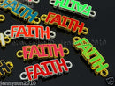 Alcoa Prime 50Pcs Colorful Smooth Metal Faith Bracelet Connector Charm Beads Mixed 10x34mm