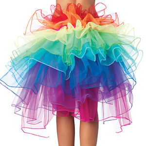 Alcoa Prime Rainbow Neon Tutu Skirt Rave Party Dance Half Bustle Burlesque Sexy Clubwear JB