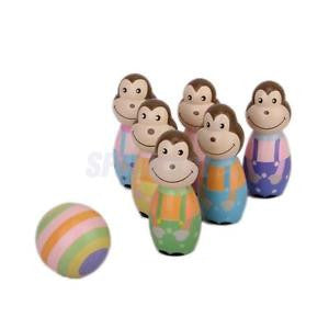 Alcoa Prime Wooden 6 Monkey Bowling pin & 1 ball Set Kids Child Bowling Skittles Game Toys