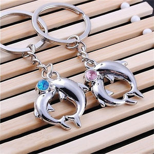 1Pair Hot Metal Dolphin Key Ring Keyfob Couples Romantic Keychain Lover Gift To