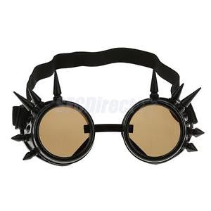 Alcoa Prime Vintage Steampunk Spikes Goggles Cyber Punk Cyber Goth Cosplay Glasses Black